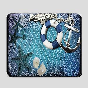 nautical fisherman sea shells Mousepad