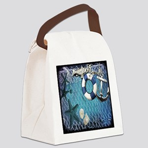 nautical fisherman sea shells Canvas Lunch Bag