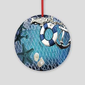 nautical fisherman sea shells Round Ornament