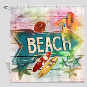 sunrise beach surfer Shower Curtain