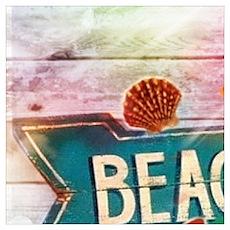 sunrise beach surfer Poster