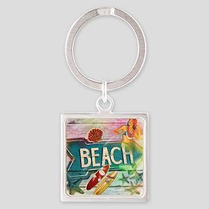 sunrise beach surfer Square Keychain