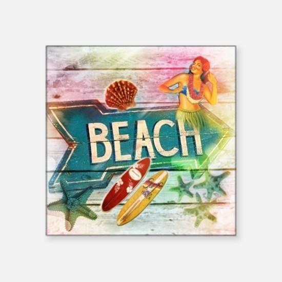 """sunrise beach surfer Square Sticker 3"""" x 3"""""""