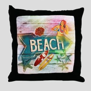 sunrise beach surfer Throw Pillow