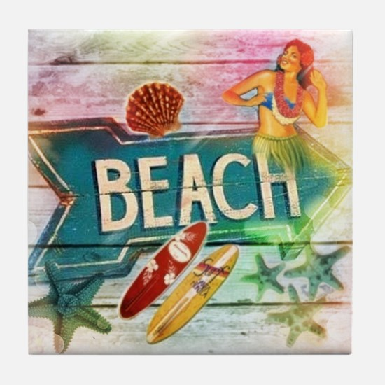 sunrise beach surfer Tile Coaster