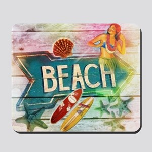 sunrise beach surfer Mousepad