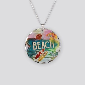 sunrise beach surfer Necklace Circle Charm