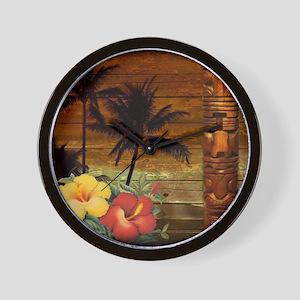 totem Hawaiian Hibiscus Flower Wall Clock