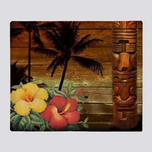 totem Hawaiian Hibiscus Flower Throw Blanket