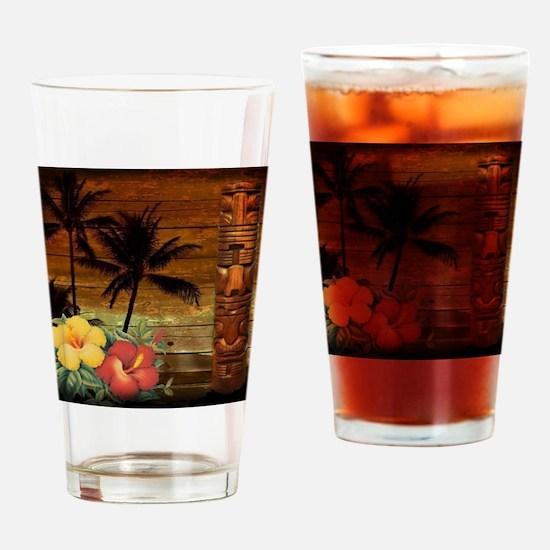 totem Hawaiian Hibiscus Flower Drinking Glass