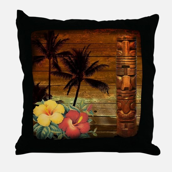 totem Hawaiian Hibiscus Flower Throw Pillow