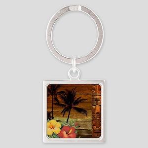 totem Hawaiian Hibiscus Flower Square Keychain
