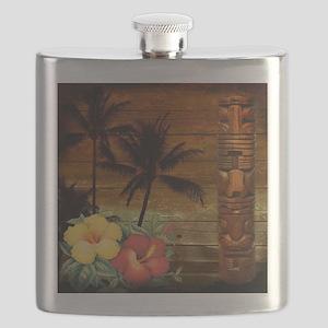 totem Hawaiian Hibiscus Flower Flask