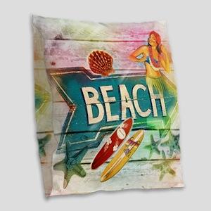 sunrise beach surfer Burlap Throw Pillow