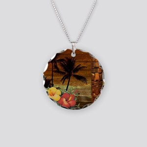 totem Hawaiian Hibiscus Flow Necklace Circle Charm