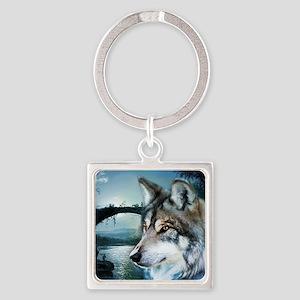 romantic moonlight wild wolf Square Keychain