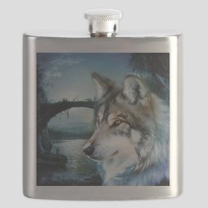 romantic moonlight wild wolf Flask