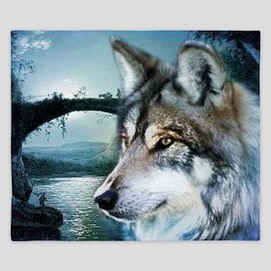 romantic moonlight wild wolf King Duvet