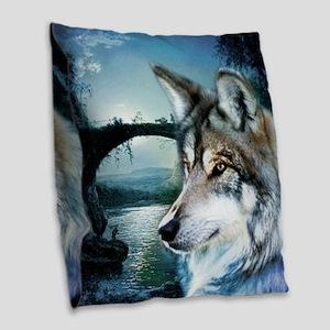 romantic moonlight wild wolf Burlap Throw Pillow