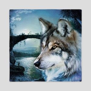 romantic moonlight wild wolf Queen Duvet