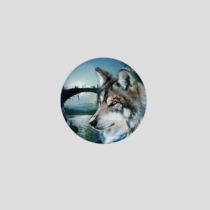romantic moonlight wild wolf Mini Button