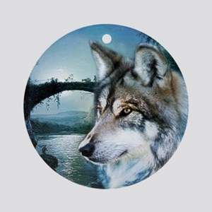 romantic moonlight wild wolf Round Ornament