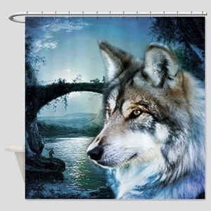 romantic moonlight wild wolf Shower Curtain