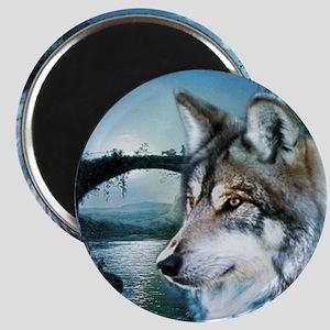 romantic moonlight wild wolf Magnet