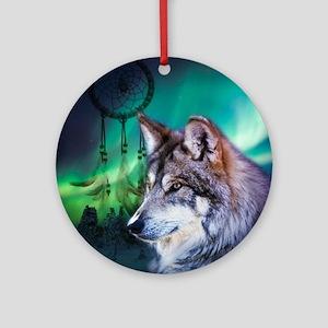 dream catcher northern light wolf Round Ornament