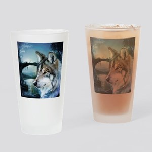 romantic moonlight wild wolf Drinking Glass
