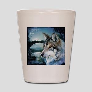 romantic moonlight wild wolf Shot Glass