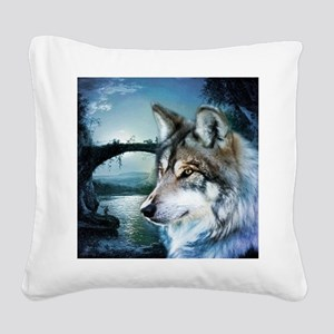 romantic moonlight wild wolf Square Canvas Pillow