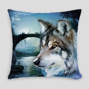 romantic moonlight wild wolf Everyday Pillow