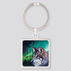 dream catcher northern light wolf Square Keychain