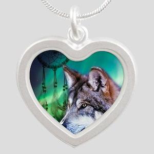 dream catcher northern light Silver Heart Necklace