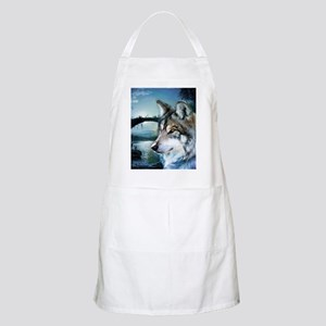 romantic moonlight wild wolf Apron