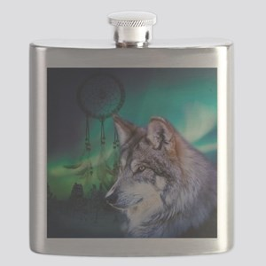 dream catcher northern light wolf Flask
