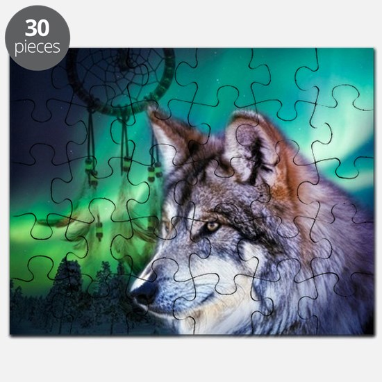 dream catcher northern light wolf Puzzle