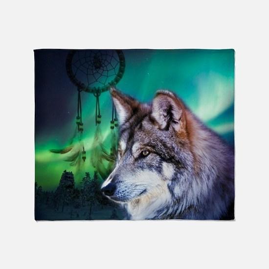 dream catcher northern light wolf Throw Blanket