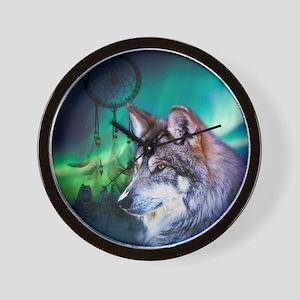 dream catcher northern light wolf Wall Clock