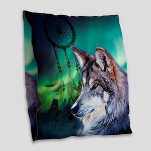 dream catcher northern light w Burlap Throw Pillow