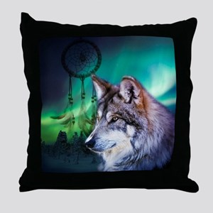 dream catcher northern light wolf Throw Pillow