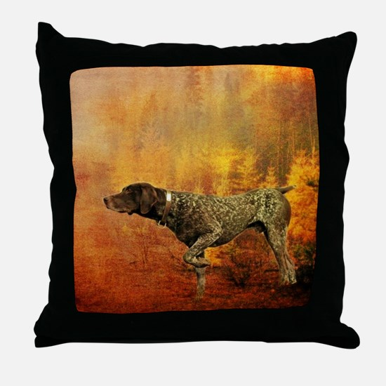 vintage hunting pointer dog Throw Pillow