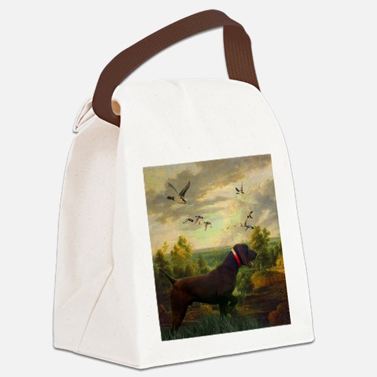 vintage hunting pointer dog Canvas Lunch Bag