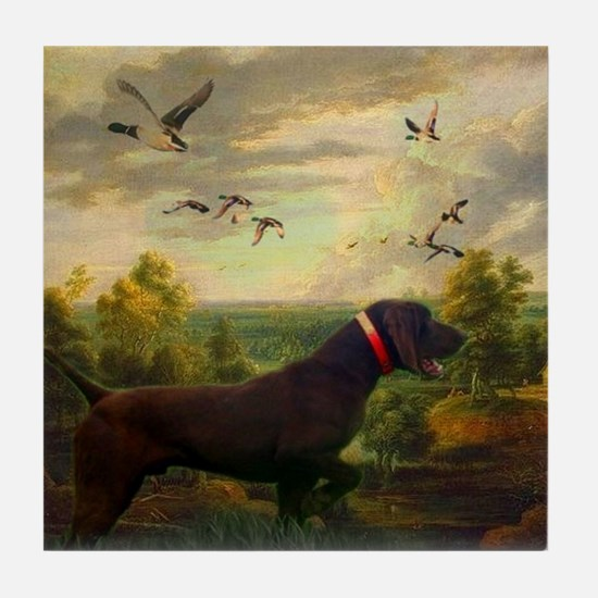 vintage hunting pointer dog Tile Coaster