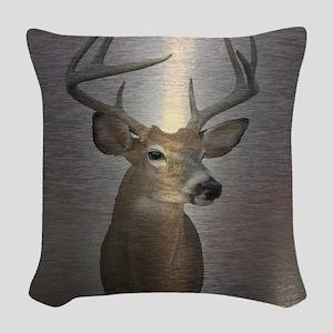 grunge texture western deer Woven Throw Pillow
