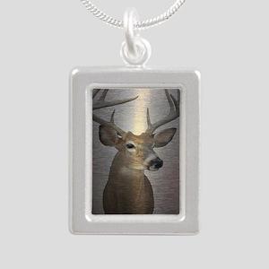 grunge texture western d Silver Portrait Necklace