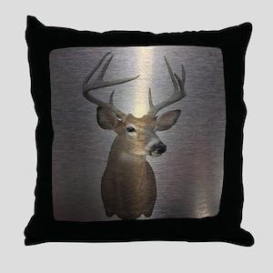grunge texture western deer Throw Pillow
