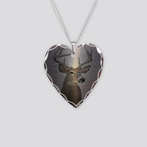 grunge texture western deer Necklace Heart Charm