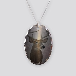 grunge texture western deer Necklace Oval Charm